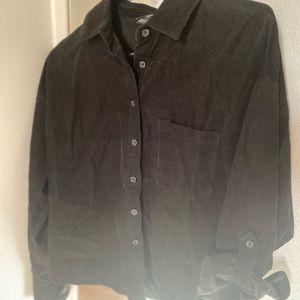 Black Faux Corduroy Button-Up